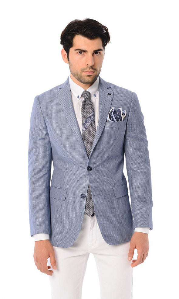SAYKI Men's Blue Patterned Slim Fit Double Breasted Blazer