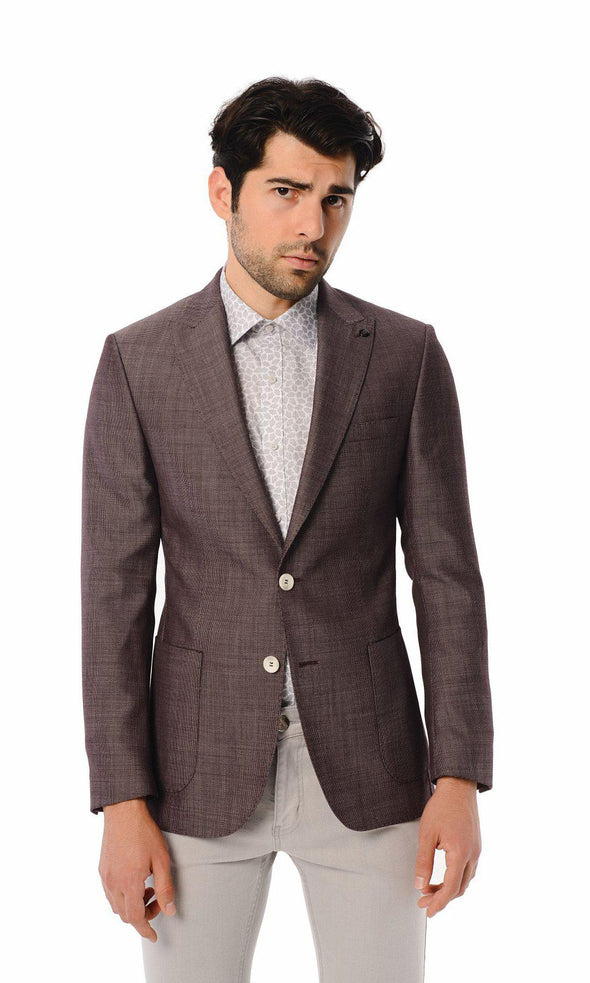 SAYKI Men's Slim Fit Burgundy Patterned Double Breasted Blazer-SAYKI MEN'S FASHION