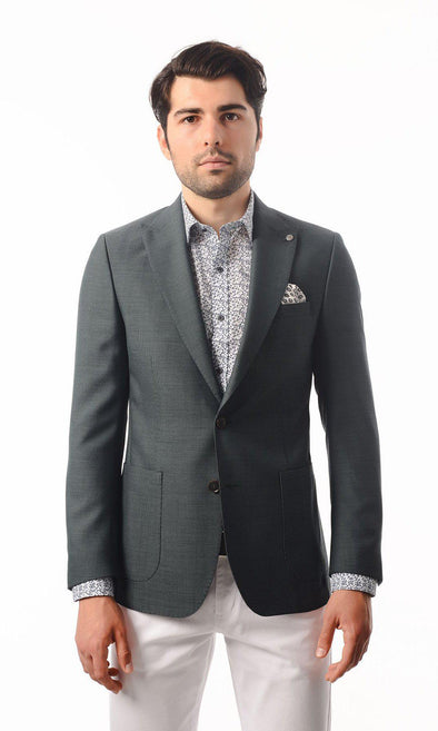 SAYKI Men's Slim Fit Green Patterned Double Breasted Blazer