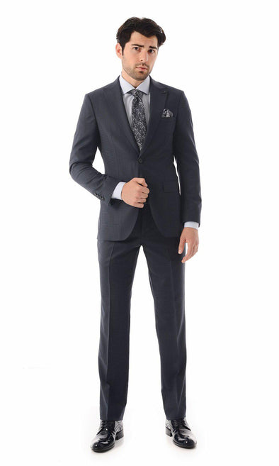 SAYKI Men's Single Breasted Wool Blue Houndstooth Suit-SAYKI MEN'S FASHION