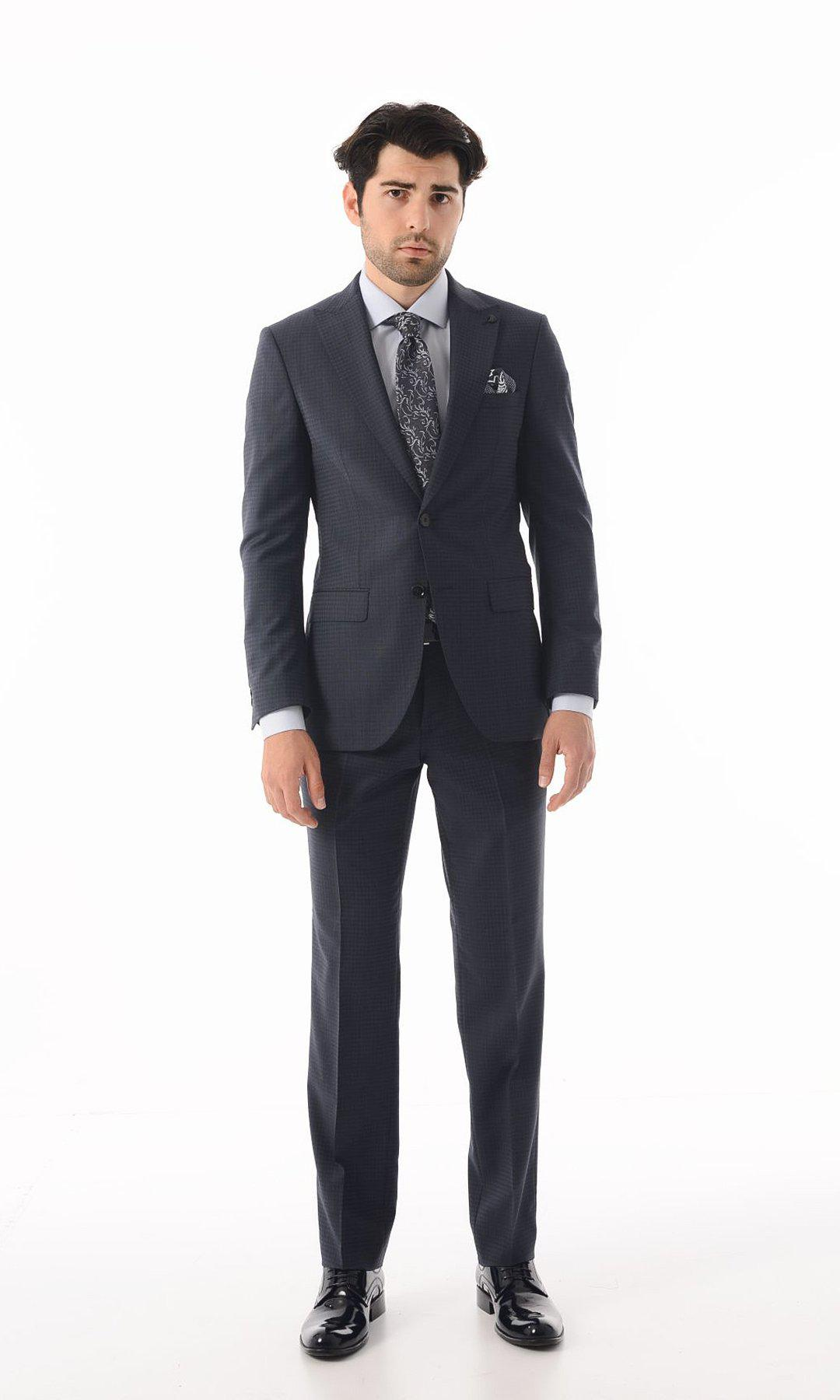 9c72d3778f SINGLE BREASTED WOOL NAVY HOUNDSTOOTH SUIT -