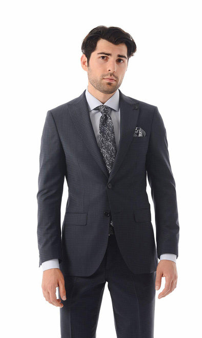 SAYKI Men's Single Breasted Wool Blue Houndstooth Suit