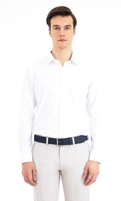 SAYKI Men's Cotton Slim Fit White Shirt