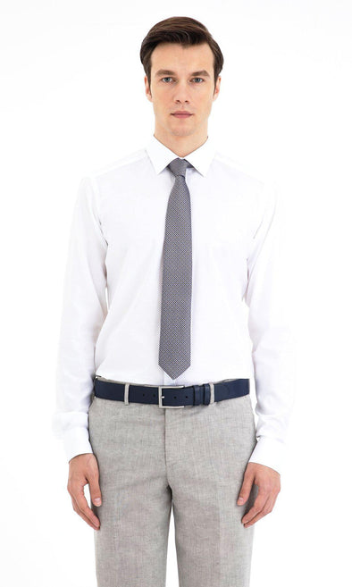 SAYKI Men's Slim Fit White Cotton Shirt-SAYKI MEN'S FASHION