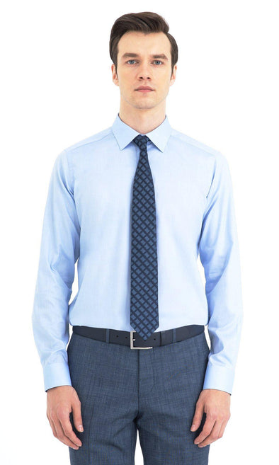 SAYKI Men's Regular Fit Blue Cotton Shirt