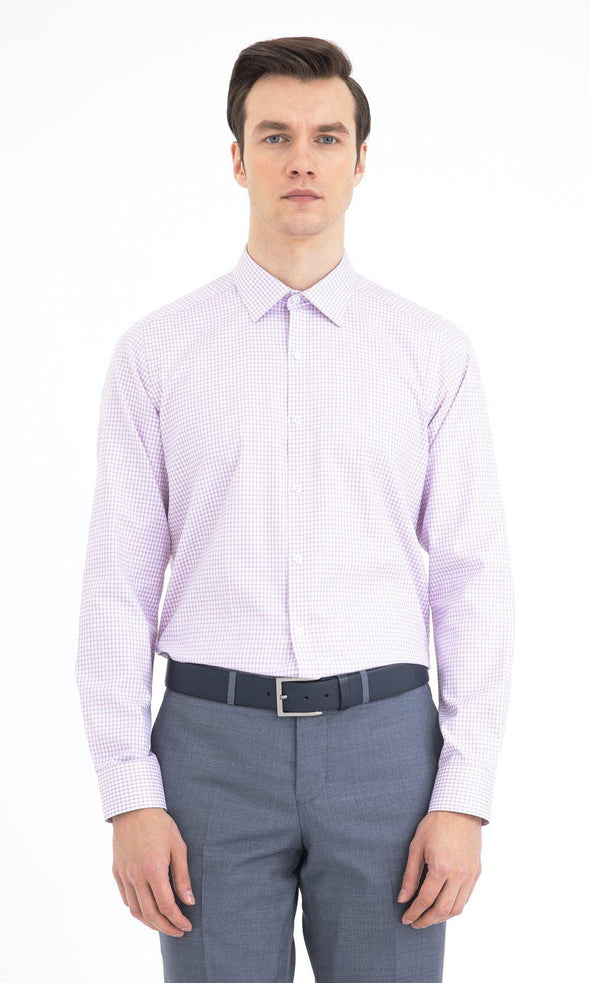 SAYKI Men's Regular Fit Checkered Lilac Cotton Shirt-SAYKI MEN'S FASHION