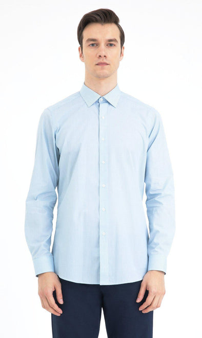 SAYKI Men's Regular Fit Light Blue Cotton Shirt