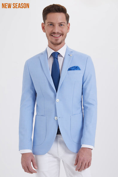 Sayki Men's Slim Fit Blue Blazer