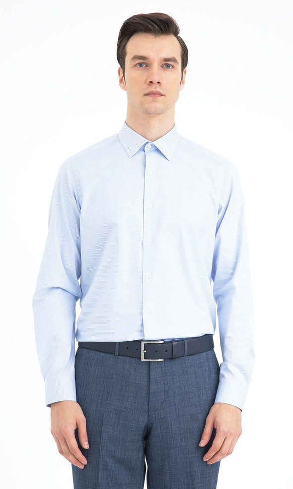SAYKI Men's Regular Fit Cutaway Collar Cotton Shirt
