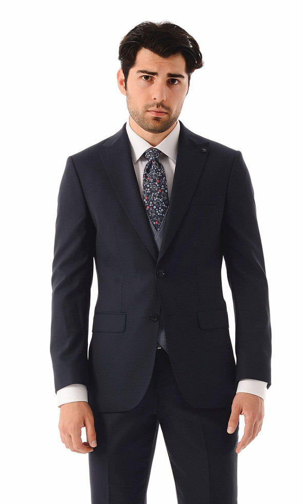 SAYKI Men's Fashion Single Breasted Slim Fit Navy Suit With Vest