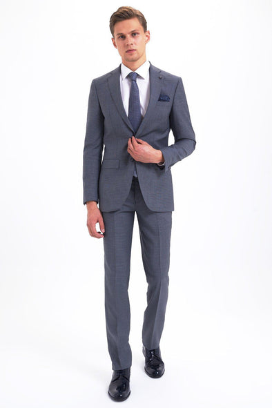 SAYKI Men's Slim Fit Single Breasted Grey Wool Suit-SAYKI MEN'S FASHION