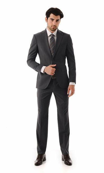 SAYKI Men's Single Breasted Slim Fit Wool Grey Suit-SAYKI MEN'S FASHION
