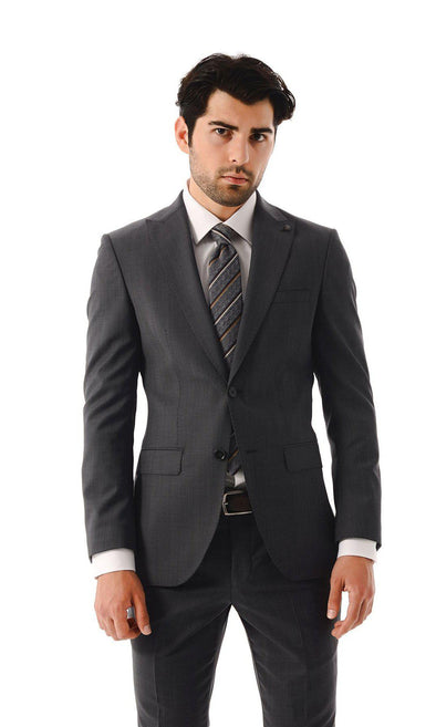SAYKI Men's Single Breasted Slim Fit Wool Grey Suit