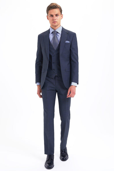 SAYKI Men's Slim Fit Single Breasted Navy Suit with Giovanni Vest-SAYKI MEN'S FASHION