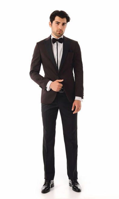 SAYKI Men's Slim Fit Single Breasted Burgundy Tuxedo-SAYKI MEN'S FASHION
