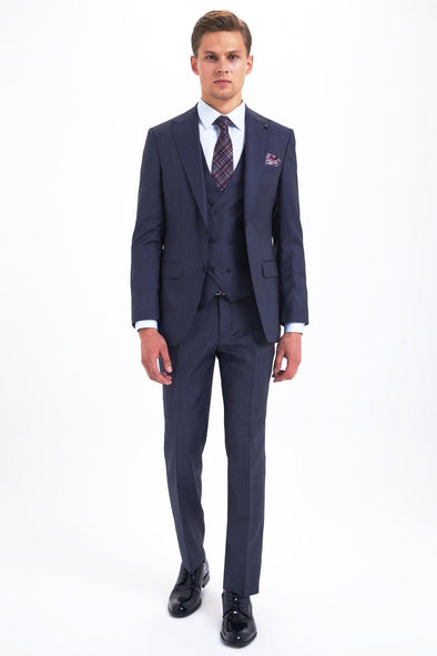 SAYKI Men's Slim Fit Single Breasted Light Navy Suit with Giovanni Vest