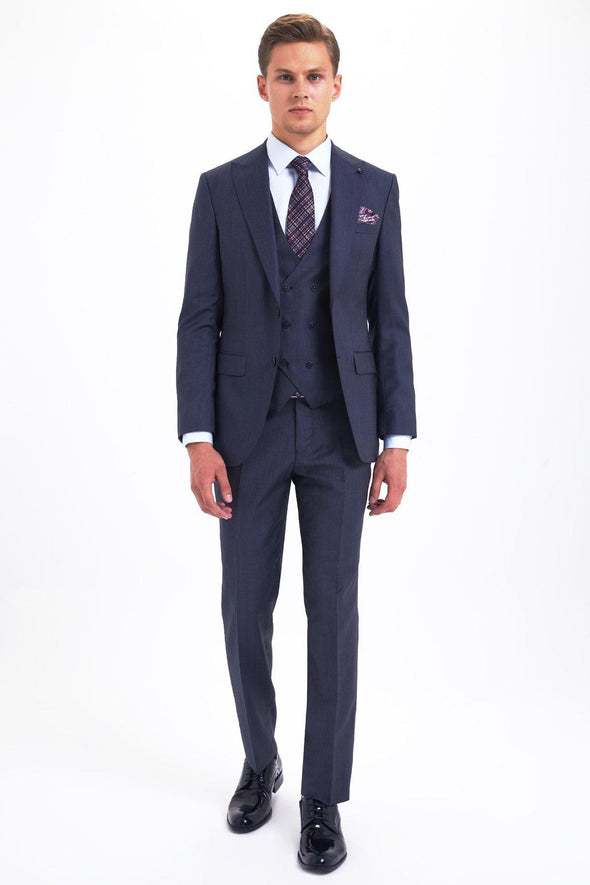 SAYKI Men's Slim Fit Single Breasted Light Navy Suit with Giovanni Vest-SAYKI MEN'S FASHION