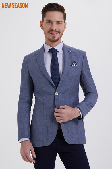 Sayki Men's Micro-Pattern Blue Blazer