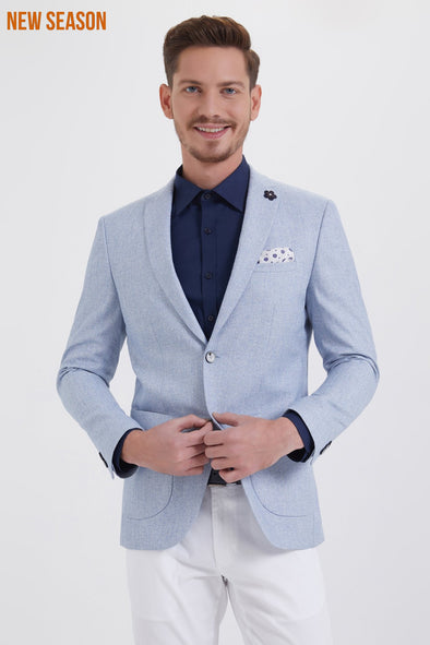 SAYKI Men's Slim Fit Single Breasted Pastel Blazer