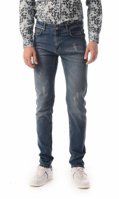 SAYKI Men's Slim Fit Navy Jeans