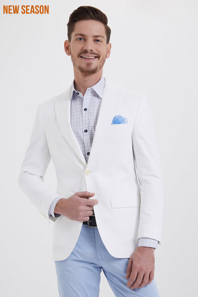 Saykı Men's Slim Fit White Blazer