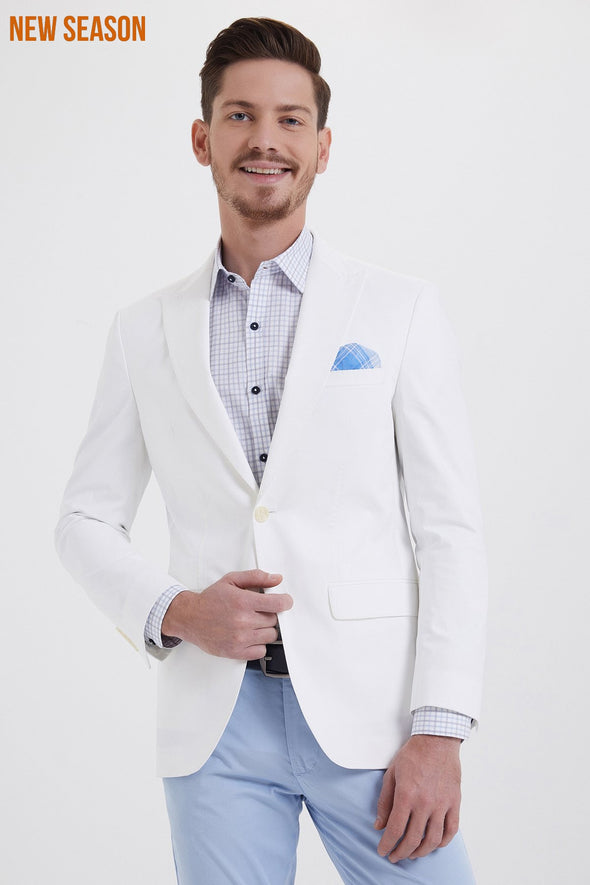 WHITE SLIM FIT BLAZER