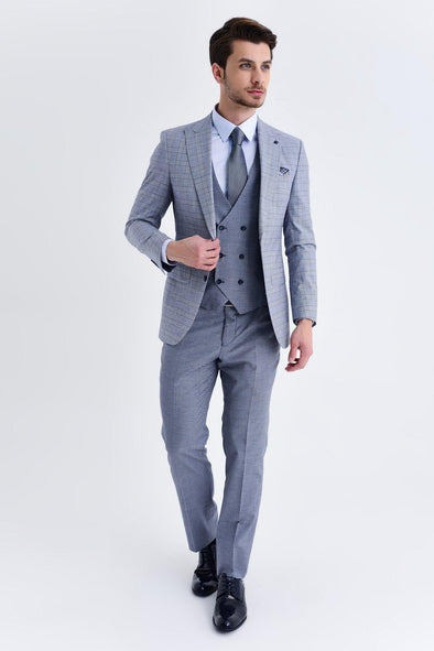 SAYKI Men's Slim Fit Light Navy Suit With Giovanni Vest
