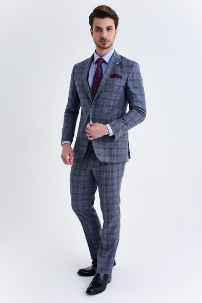 SAYKI Men's Marlane Slim Fit Single Breasted Light Blue Suit