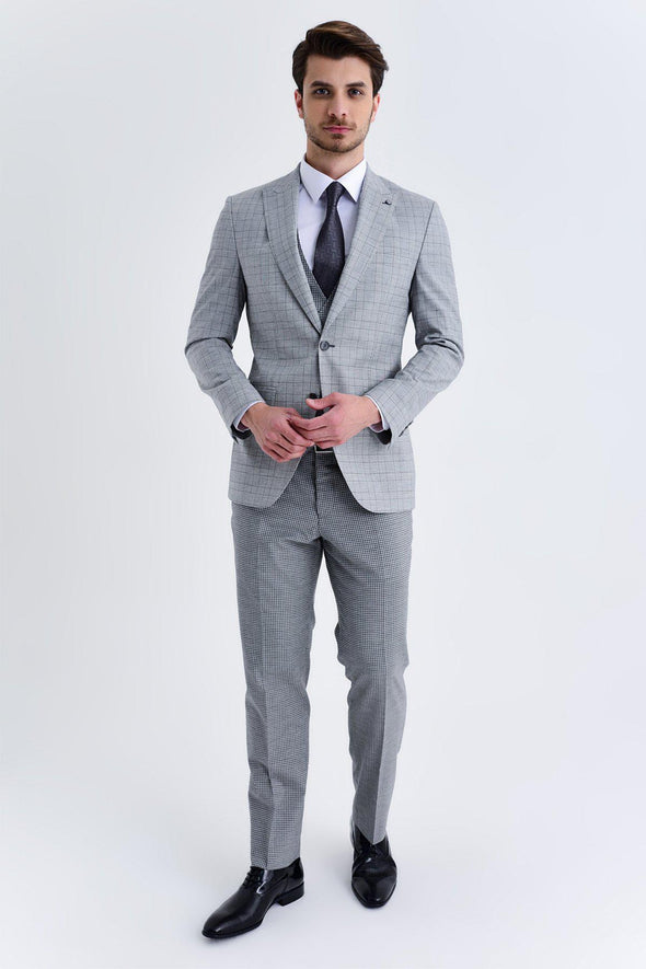 SAYKI Men's Marlane Slim Fit Single Breasted Grey Checkered Suit