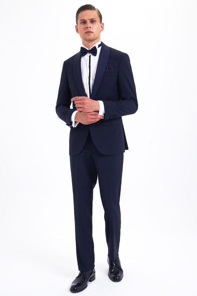 SAYKI Men's Armando Slim Fit Single Breasted Navy Tuxedo-SAYKI MEN'S FASHION