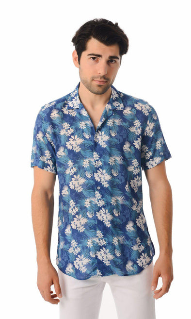 SAYKI Men's Slim Fit Floral Viscose Short Sleeve Shirt