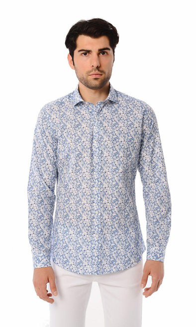 SAYKI Men's Slim Fit Patterned Cotton Shirt-SAYKI MEN'S FASHION