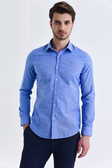 SAYKI Men's Slim Fit Textured Shirt