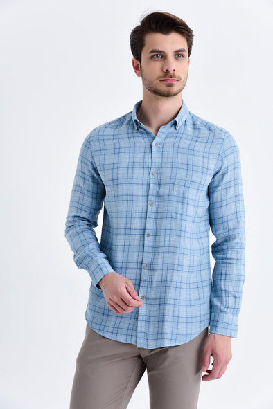 SAYKI Men's Slim Fit Checkered Shirt