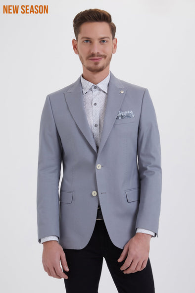 Sayki Men's Slim Fit Light Grey Cotton Blazer