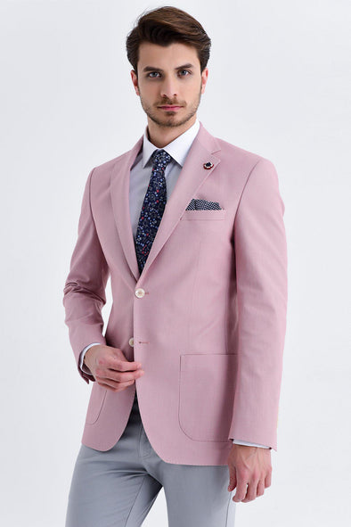 SAYKI Men's Slim Fit Single Breasted Pink Blazer
