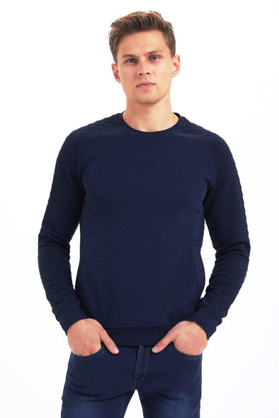 SAYKI Men's Two-Pattern Crewneck Sweatshirt-SAYKI MEN'S FASHION
