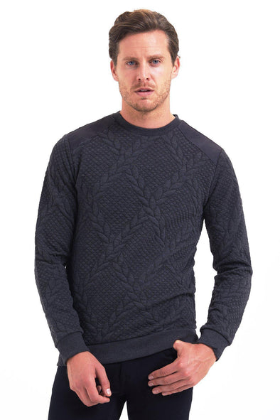 SAYKI Men's Braided Crewneck Sweater-SAYKI MEN'S FASHION