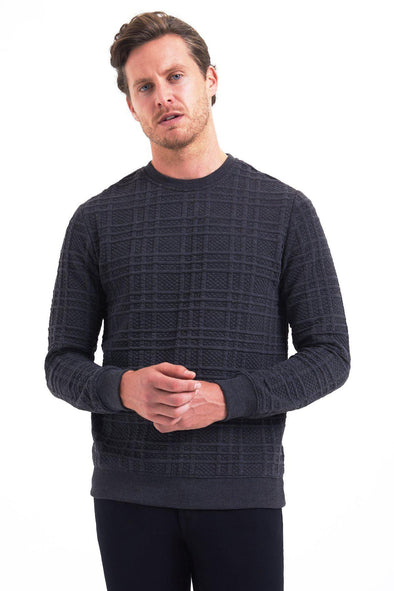 SAYKI Men's Checkered Crewneck Sweatshirt-SAYKI MEN'S FASHION