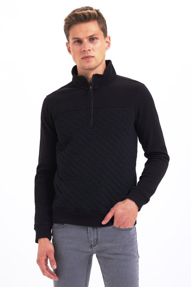 SAYKI Men's Zipper Neck Sweatshirt-SAYKI MEN'S FASHION