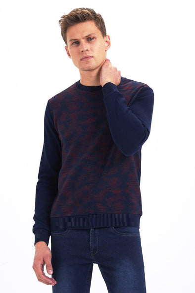 SAYKI Men's Crewneck Navy Sweatshirt-SAYKI MEN'S FASHION