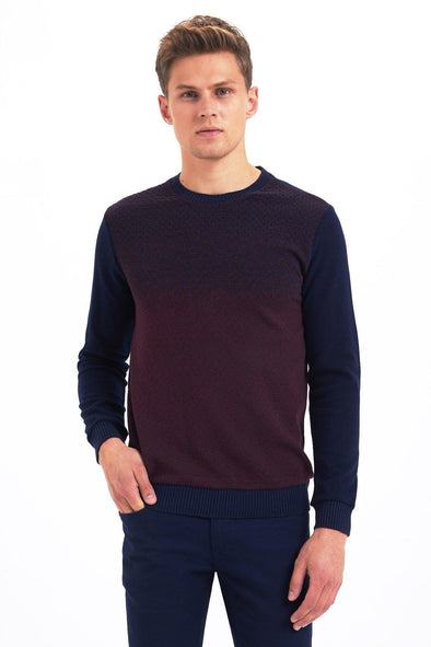 SAYKI Men's Patterned Crewneck Sweatshirt-SAYKI MEN'S FASHION
