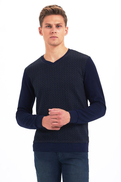 SAYKI Men's Patterned V Neck Sweatshirt-SAYKI MEN'S FASHION