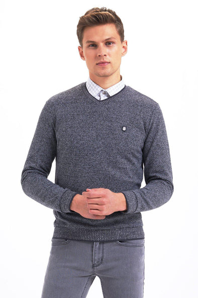 SAYKI Men's V Neck Sweatshirt-SAYKI MEN'S FASHION