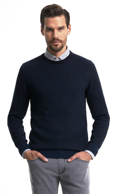 SAYKI Men's Navy Crewneck Sweatshirt-SAYKI MEN'S FASHION