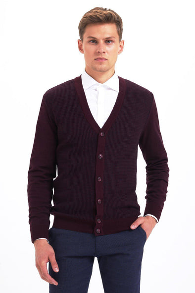 SAYKI Men's Buttoned Burgundy Cardigan-SAYKI MEN'S FASHION