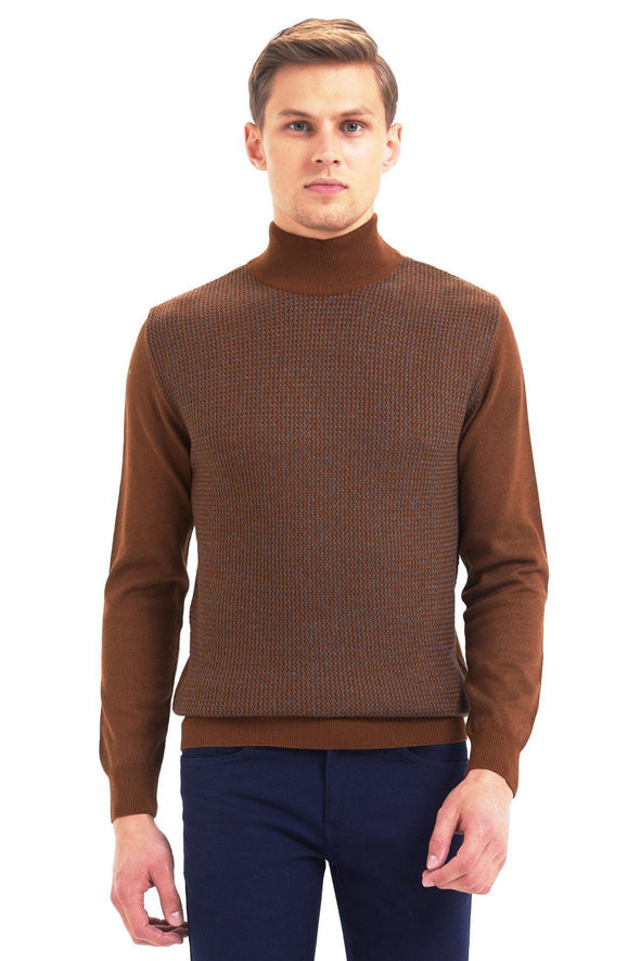 SAYKI Men's Mock Neck Sweater-SAYKI MEN'S FASHION