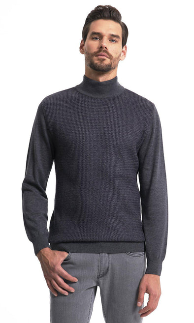 SAYKI Men's Mock Neck Charcoal Sweatshirt-SAYKI MEN'S FASHION
