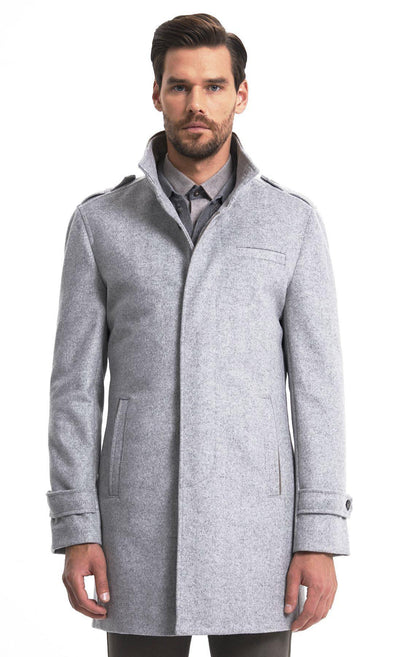 Sayki Mens Boston Grey Overcoat Default