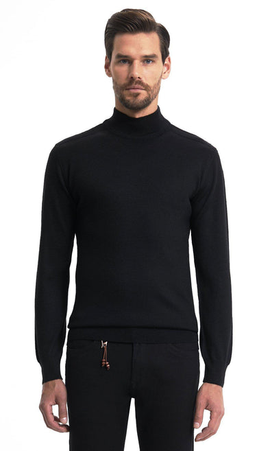 SAYKI Men's Mock Neck Classic Sweatshirt-SAYKI MEN'S FASHION